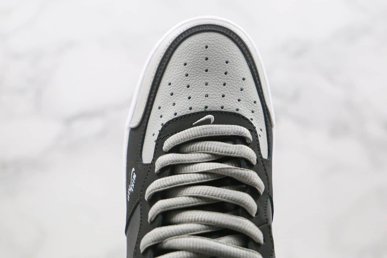 耐克Nike Air Force 1 Premium纯原版本中帮空军一号黑灰色荔枝皮纹板鞋内置全掌Sole气垫 货号:BQ6819-008