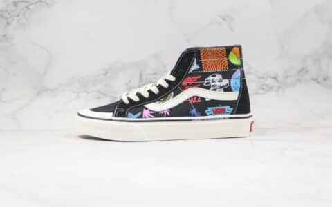 万斯Vans SK8-Hi公司级版本高帮半月包头彩色印花元素涂鸦帆布鞋原楦头纸板打造