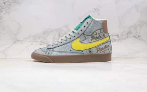 耐克Nike Blazer Mid VNTG 77纯原版本中帮开拓者灰黄色涂鸦板鞋原鞋开模一比一打造 货号:CW6016-100