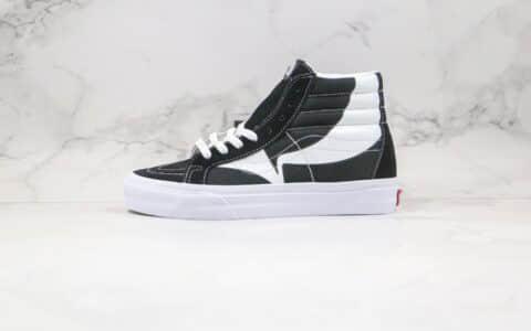 万斯Vans SK8-HI公司级版本高帮小V印花斜钩黑白色帆布鞋原盒原标原楦头纸板打造
