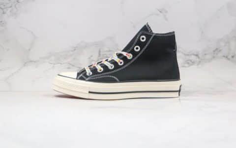 匡威Converse chuck 70S公司级版本高帮彩虹底印花鞋带黑色帆布鞋原厂硫化大底正确双围条 货号:162666C