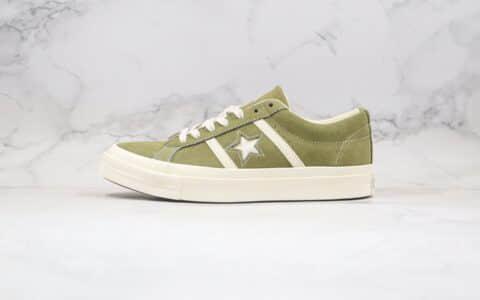 匡威CONVERSE jack star STAR&BARS SUEDE公司级版本低帮麂皮杰克双杠一星橄榄绿色硫化板鞋原鞋开模一比一打造 货号:164527C