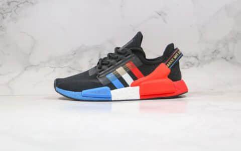 阿迪达斯adidas NMD R1 V2公司级版本爆米花针织跑鞋黑红蓝色原盒原标 货号:FY2070