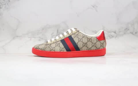 古驰Gucci ACE Embroidered Low-Top纯原版本拼色刺绣系列低帮休闲板鞋乌木色原盒全套原包装配件