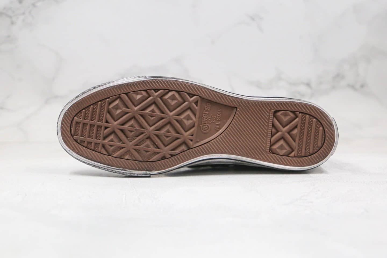 匡威Converse Taylor All Star公司级版本高帮板鞋水洗做旧皮面脏鞋黑色蓝底双围条