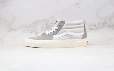 万斯Vans SK8-Mid公司级版本中帮麂皮帆布拼接板鞋灰白撞色工艺硫化一比一