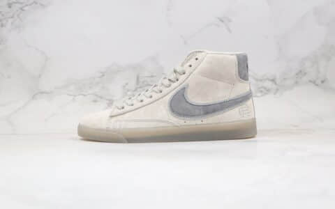 耐克Reigning Champ x Nike Blazer Mid Retro公司级版本卫冕冠军联名款中帮麂皮板鞋3M反光浅灰色原材打造 货号:371761-009