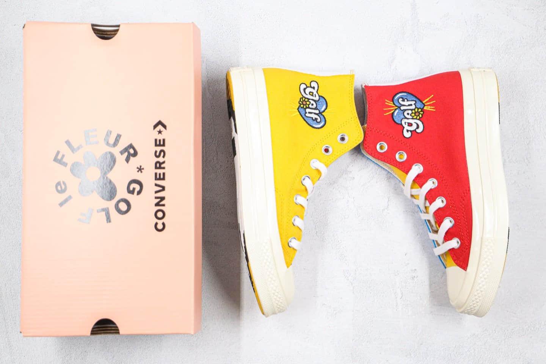 匡威Converse Chuck 70 x GOLF le FLEUR公司级版本高帮小花Golf黑红黄蓝拼接彩虹色帆布鞋原厂硫化大底 货号:169910C