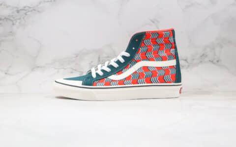 公司级版本万斯高帮冲浪系列红绿箭头麂皮拼接帆布鞋出货