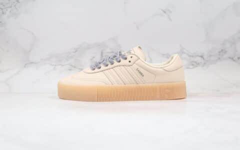 阿迪达斯Adidas Originals Samba Rose W纯原版本三叶草校园桑巴松糕板鞋亚麻棕色原楦头纸板打造 货号:EF4970