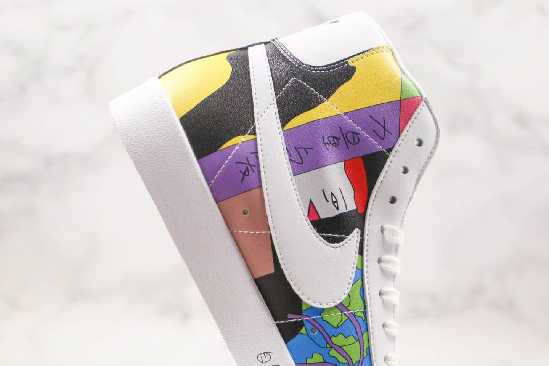 耐克Nike Blazer Mid 77 Flyleather QS x Ruohan Wang联名款纯原版本中帮开拓者环保主题系列涂鸦配色原档案数据开发 货号:CZ3775-900
