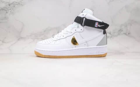 耐克Nike Air Force 1 High NBA White Gum纯原版本高帮NBA联名款生胶白金黑色板鞋原楦头纸板打造 货号:CT2306-100