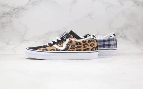 万斯Sandy Liang x Vans公司级版本设计师联名款低帮帆布鞋格纹拼接豹纹工艺硫化一比一 货号:VN0A4BU6XW1