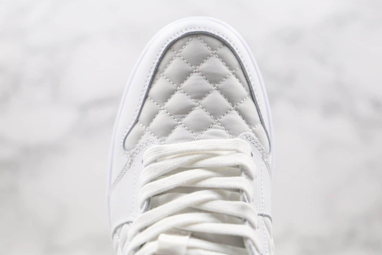 乔丹Air Jordan 1 Mid Quilted White纯原版本中帮AJ1面包菱格雪白香奈儿配色内置气垫原盒原标 货号:DB6078-100