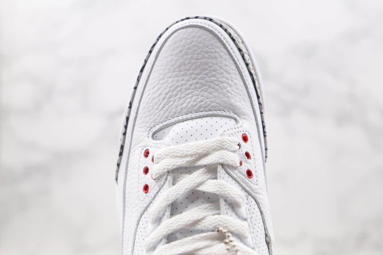"""乔丹Air Jordan 3 Retro""""White Cement""""纯原版本AJ3白水泥爆裂纹原厂原装皮料 货号:923096-101"""