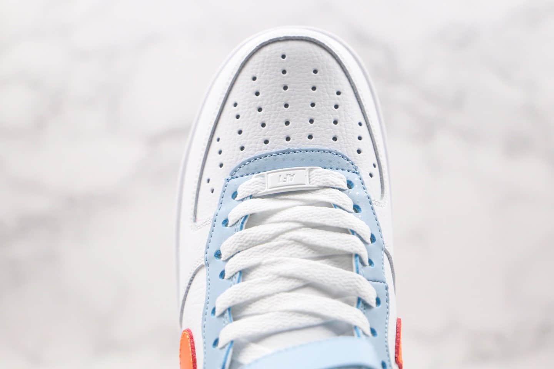 """耐克Nike Air Force 1 High """"Be Kind""""纯原版本空军一号高帮太阳白橙蓝色内置全掌air sole气垫 货号:DC2198-100"""