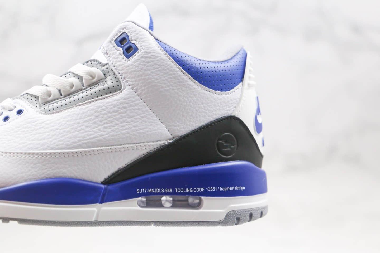 乔丹Fragment x Air Jordan 3 Sample纯原版本藤原浩闪电联名AJ3黑蓝闪电原盒原标 货号:DA3595-111