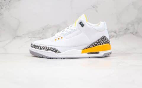 乔丹Air Jordan 3 WMNS Laser Orange纯原版本白黄色爆裂纹AJ3篮球鞋正确后跟定型 货号:CK9246-108