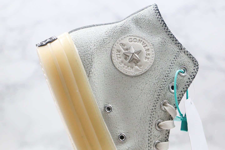 匡威Russell Westbrook x Air Jordan x Converse Chuck Translucent Midsole 1970 High Why Not三方联名款公司级版本白灰黑色皮革刺绣铁网果冻水晶底板鞋 货号:169628C