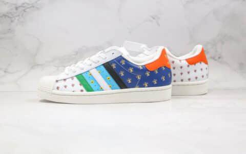 阿迪达斯Adidas Super star纯原版本三叶草贝壳头板鞋50周年涂鸦LOGO原鞋开模一比一打造 货号:FX7175