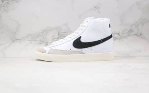 耐克Nike Blazer Mid纯原版本开拓者高帮皮面板鞋白黑色原标原盒 货号:BQ6806-100