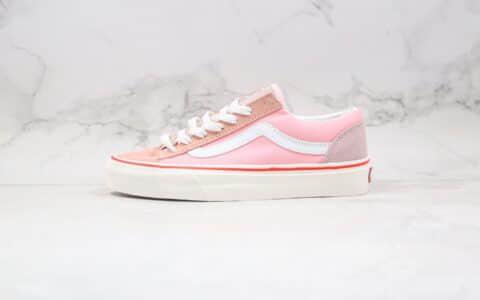 万斯Vans Old Skool公司级版本低帮粉色帆布麂皮拼接硫化板鞋原盒原标原楦头纸板打造 货号:VN0A32R3LVH