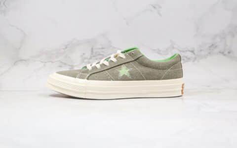 匡威Converse One Star Sunbaked公司级版本木村一星棕绿色麂皮硫化板鞋内置NFC芯片感应 货号:164361C