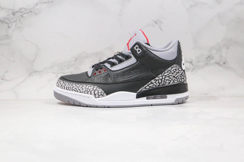乔丹Air Jordan 3 Retro Black Cement纯原版本爆裂纹黑灰色AJ3黑水泥篮球鞋原档案数据开发 货号:854262-001