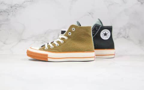 匡威Converse Chuck 70公司级版本高帮哭脸黑绿色拼接硫化板鞋原厂硫化大底 货号:169843C