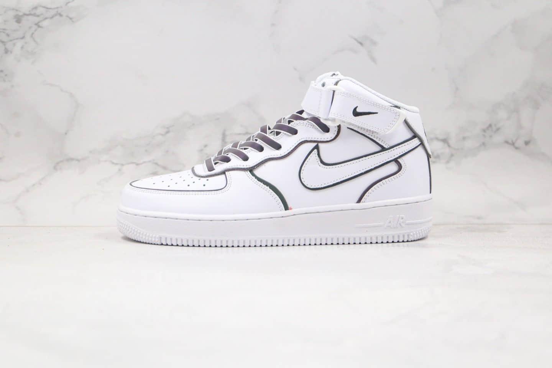 纯原版本耐克中帮空军一号3M反光白色变色龙板鞋出货