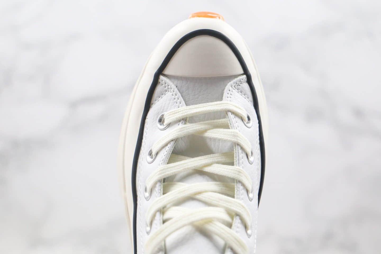 匡威Converse chuck Run Star Hike Hi White Blue Gum x J.W. Anderson联名款公司级版本高帮皮面厚底锯齿皮面白色加绒松糕鞋原盒原标 货号:162255C