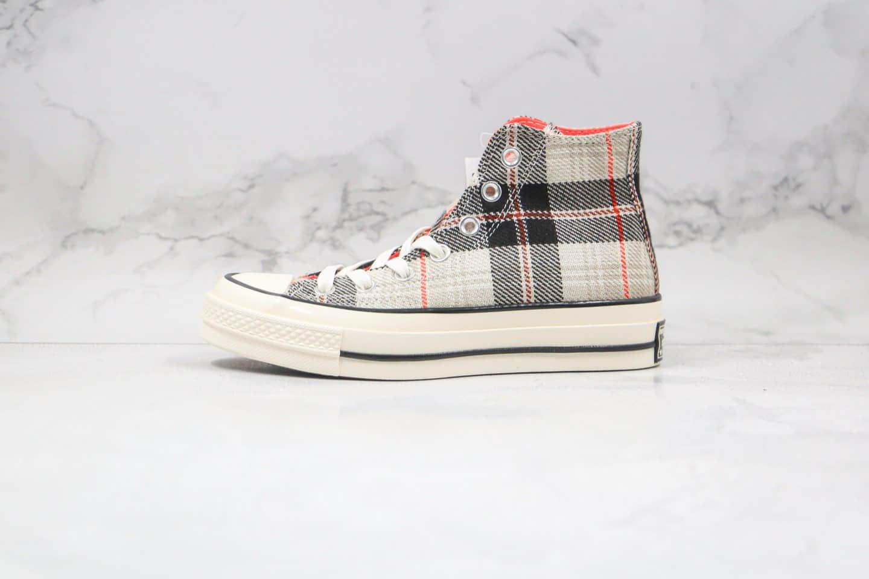 公司级版本匡威苏格兰灰色格子高帮硫化帆布鞋出货