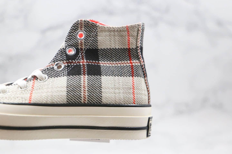 匡威Converse 70s Plaid公司级版本高帮苏格兰格子灰色硫化板鞋原盒原标 货号:166495C