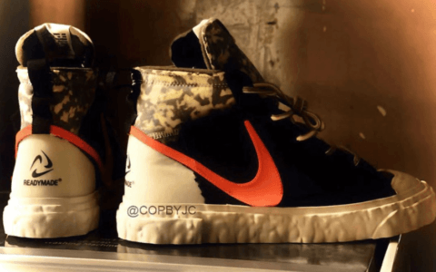 潮流军事风!READYMADE x Nike Blazer Mid联名首度曝光!感觉次元壁破了! 货号:CZ3589-001