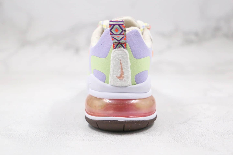 耐克Nike Air Max 270 React QP White Light Blue纯原版本半掌气垫Max270米白紫橙色马卡龙糖果色气垫鞋原盒原标 货号:DC3276-101