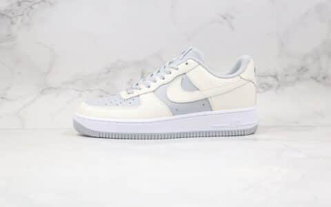 耐克Nike Air Force 1纯原版本低帮AF1空军一号北极狐米白灰色原厂中底钢印 货号:AQ4134-405