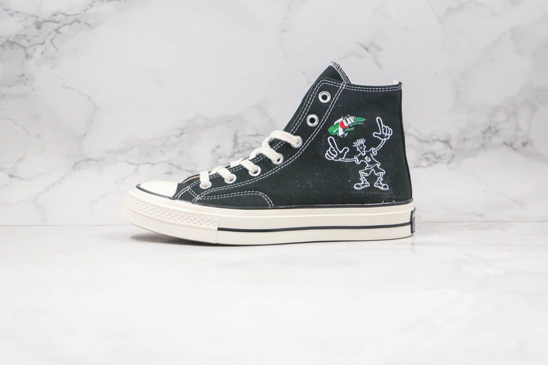 匡威Converse x 7UP七喜汽水联名款公司级版本黑色帆布鞋原厂硫化大底正确硅蓝软中底 货号:162050C