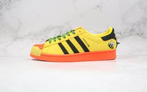阿迪达斯Adidas Originals Superstar White Red Blue Green x Melting Sadness联名款纯原版本三叶草贝壳头小蜜蜂黑黄色板鞋 货号:FZ5254