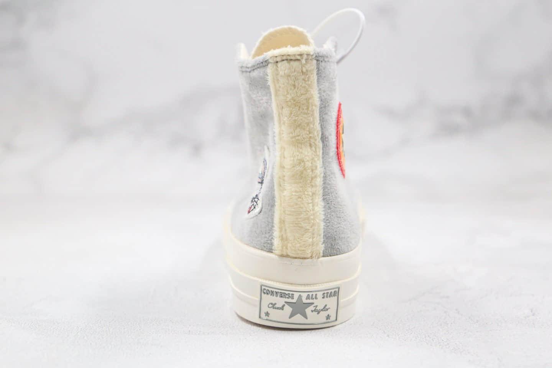 匡威Converse x Bugs Bunny兔八哥联名款纯原版本高帮灰白色毛绒硫化板鞋原楦头纸板打造 货号:169222C