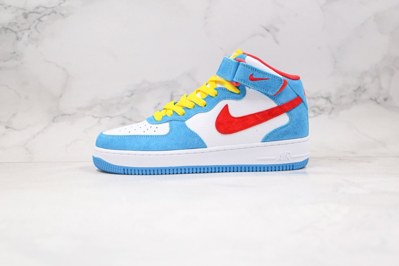 耐克Nike Air Force 1 MID纯原版本中帮空军一号哆啦A梦联名款白红蓝黄色板鞋内置气垫 货号:DK1288-600