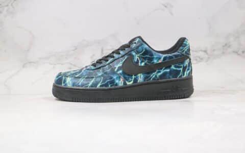 耐克Nike Air Force 1 07 wb纯原版本低帮空军一号暗黑闪电黑蓝色板鞋内置全掌Sole气垫 货号:315122-001
