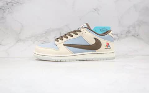 耐克Nike Dunk SB Low playstation纯原版本客制款索尼联名款低帮sb倒钩dunk米白蓝色板鞋原档案数据开发 货号:BQ6817-101