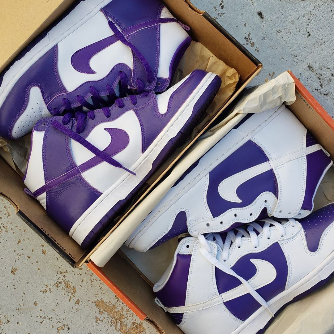"""全新白紫Dunk下月发售!还有几分""""湖人""""配色既视感! 货号:DC5382-100"""