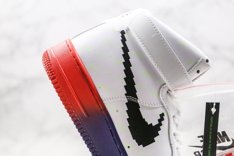 耐克Nike force 1 Mini Swoosh Logo纯原版本高帮空军一号英雄联盟电玩数码配色内置全掌Sole气垫 货号:DC2111-101