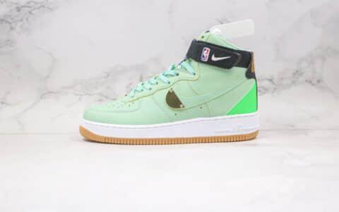 纯原版本耐克高帮空军一号NBA联名款生胶绿金黑色板鞋出货