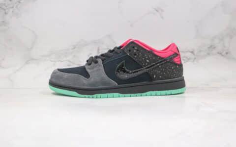 纯原版本耐克低帮SB DUNK北极光黑绿色星星泼墨板鞋出货