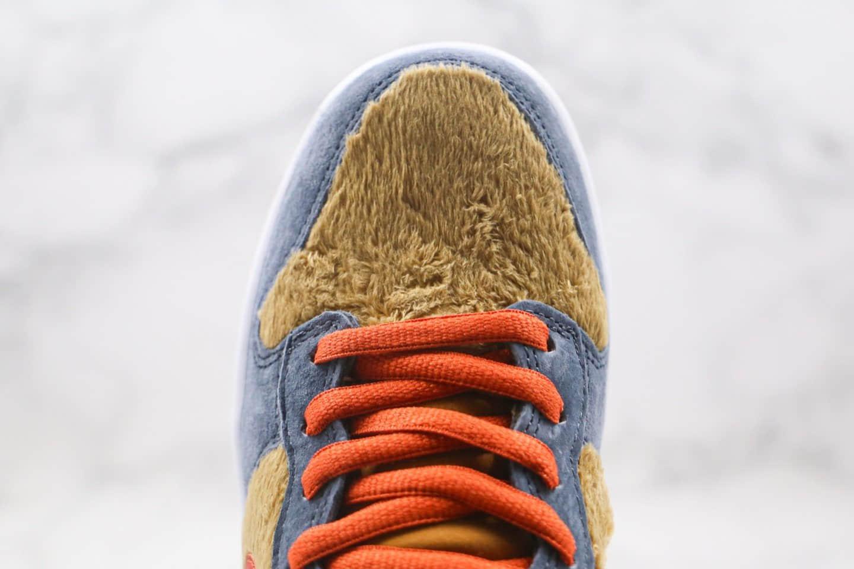 耐克Nike SB Dunk High Papa Bear纯原版本高帮SB DUNK熊宝宝毛绒蓝黄棕红色板鞋内置Zoom气垫正确鞋面材质 货号:313171-781