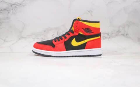 乔丹Air Jordan 1 Zoom Comfort Chile Red纯原版本高帮AJ1解构黑红色黄勾拼色原楦头纸板打造 货号:CT0978-006