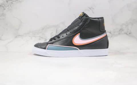 耐克Nike Blazer Mid 77 Infinite Rubberized Black纯原版本中帮开拓者黑粉女孩硫化板鞋原楦头纸板打造 货号:DC1746-001