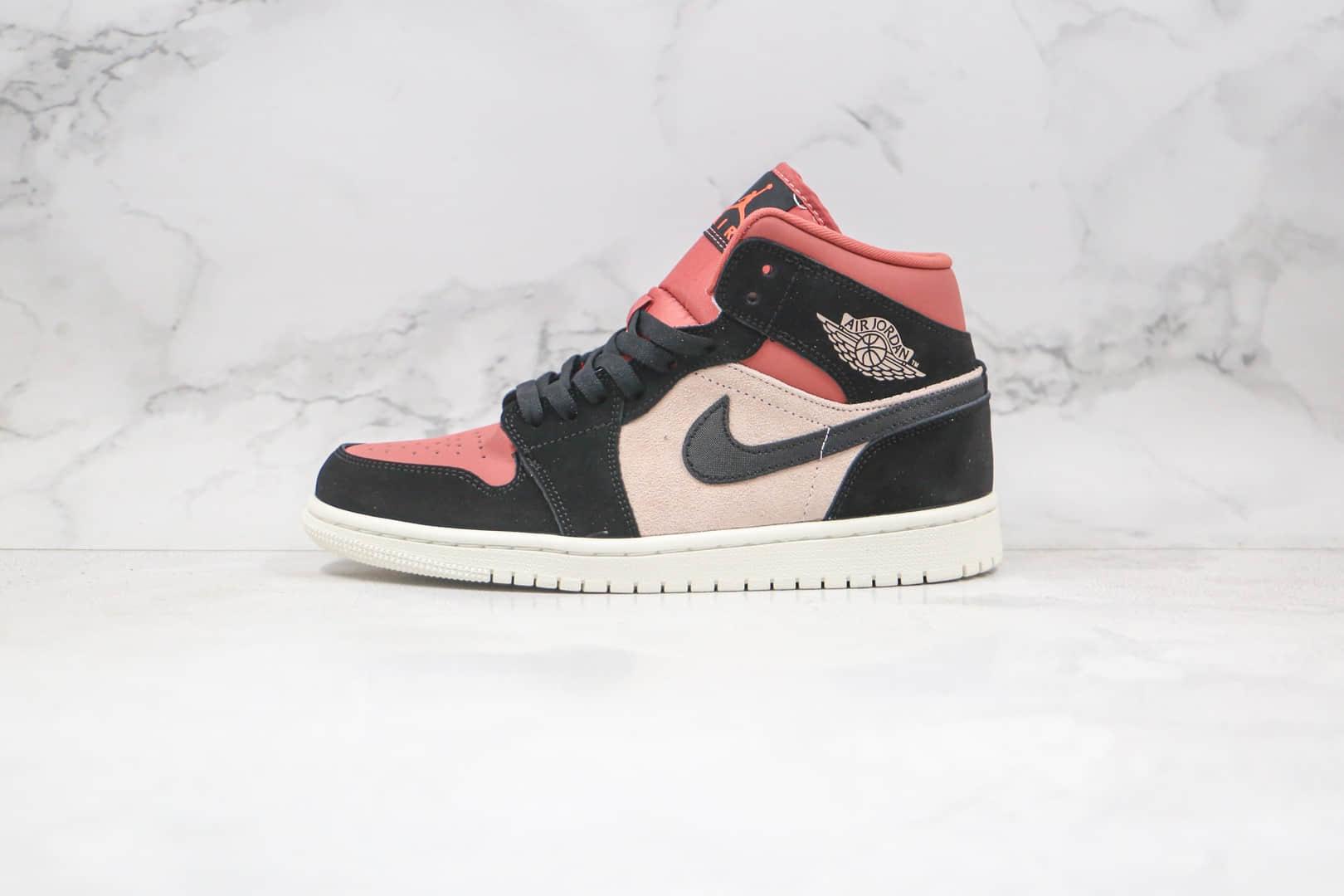 乔丹Air Jordan 1 MID纯原版本中帮AJ1胭脂水粉色枣红色正确鞋面材质原盒原标 货号:BQ6472-202